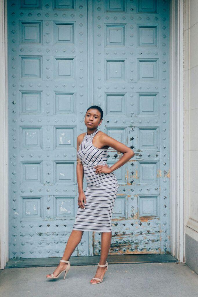 striped dress diva pose
