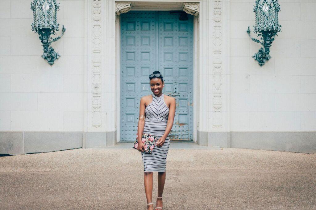 striped dress gorgeous smile