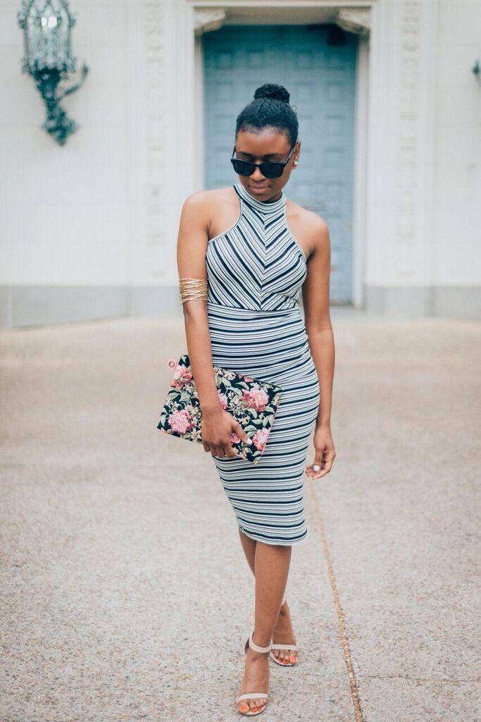 striped dress pose