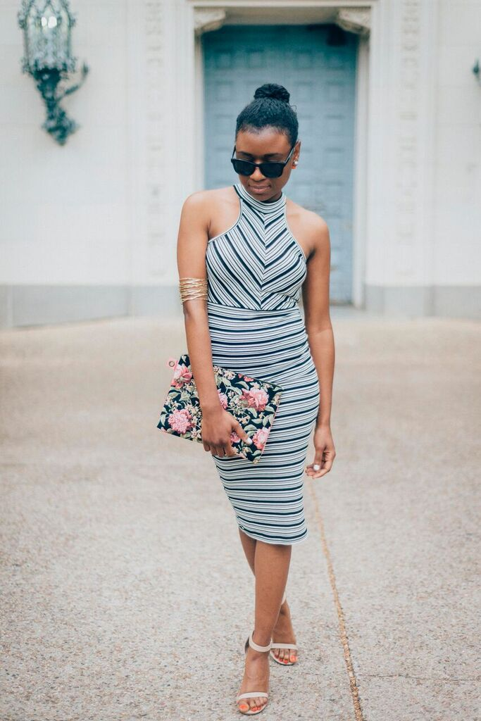 striped dress pose