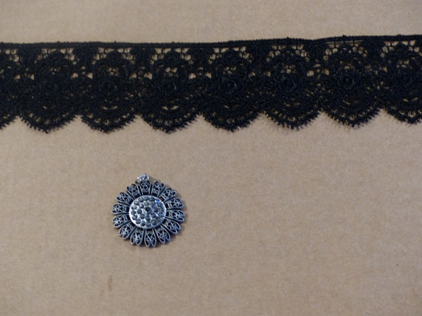 black lace choker in the making