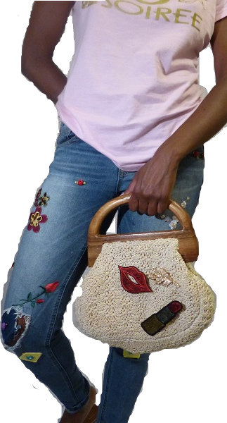 cutout of me in jeans and purses