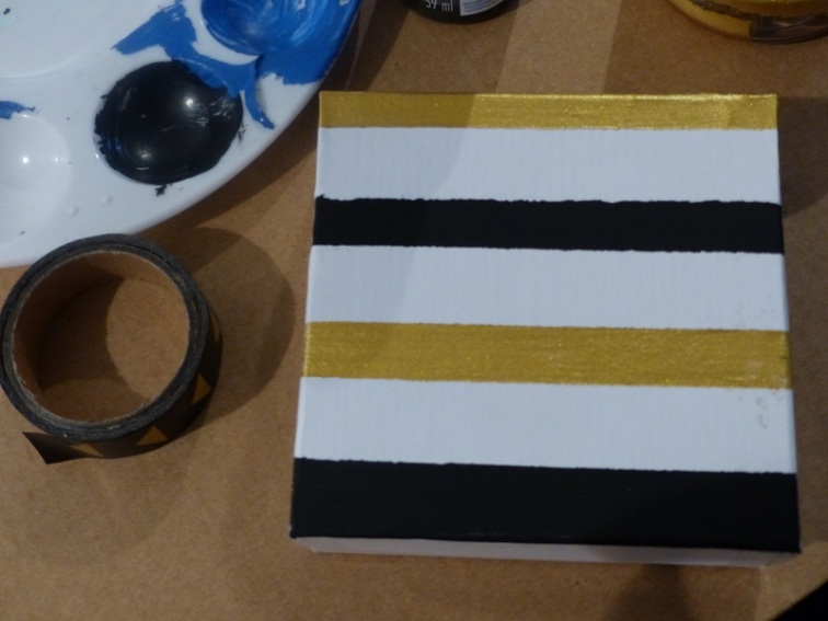 striped painted gift box